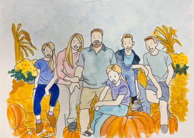 Watercolor Family Portrait Dec 19th